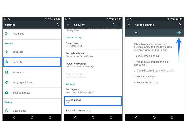 Pinning Android Scrren