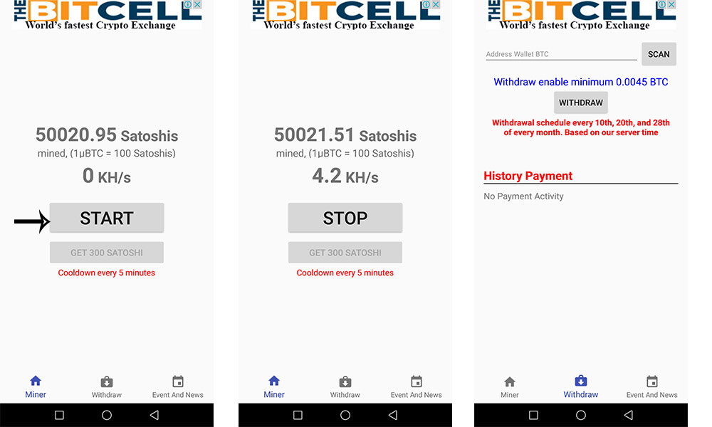 mining bitcoins in android